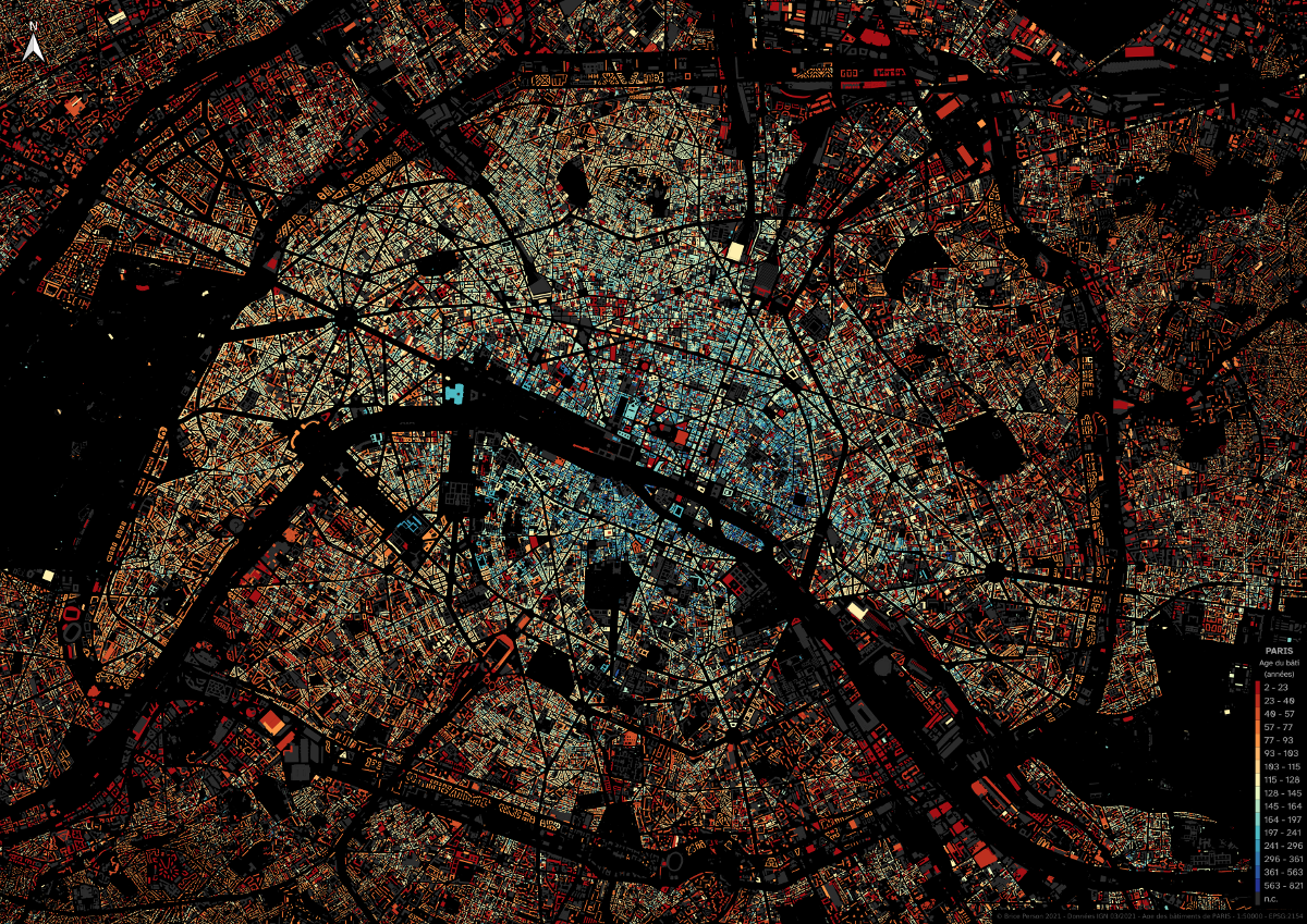 This Map Shows the Age of Every Building in Paris, France